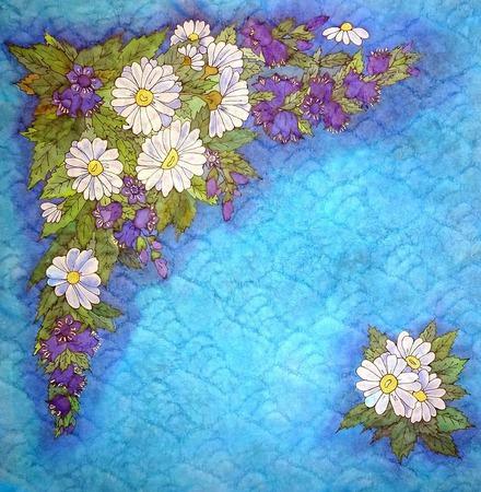 Платок батик голубой, тонкий с цветами натуральный шелковы ручной работы на заказ