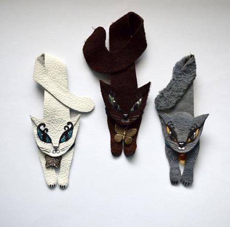 Брошь из кожи кошка - кошка брошка ручной работы на заказ