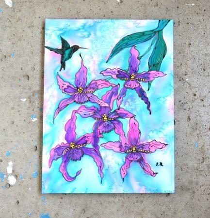 """Шелковое панно картина """"Колибри"""" натуральный шелк ручной работы на заказ"""