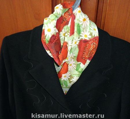 Шарф батик натуральный шелк шифон ромашки и маки ручной работы на заказ