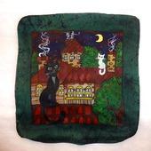 Наволочка на подушку с росписью, с котами, подарок молодожёнам Рандеву