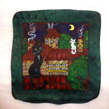 Наволочка на подушку с росписью, с котами, подарок молодожёнам Рандеву ручной работы на заказ