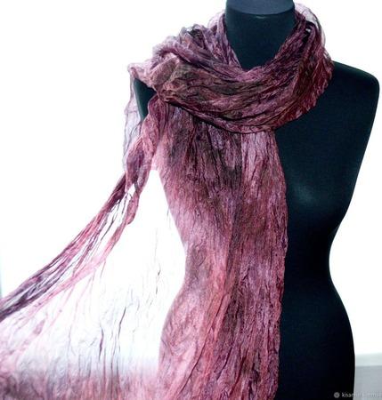 Шарф широкий длинный женский шёлковый Ночная роза ручной работы на заказ