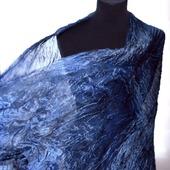 Шарф серо синий Перед грозой шелковый шарф натуральный шёлк