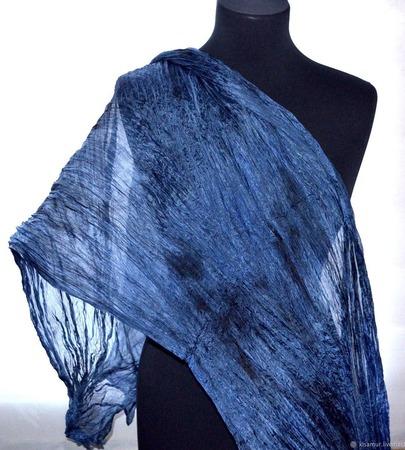 Шарф серо синий Перед грозой шелковый шарф натуральный шёлк ручной работы на заказ