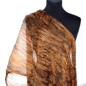 Коричнево карамельно охристый женский шелковый шарф
