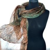 Шарф шёлковый коричневый с зелёным женский шелковый шарф