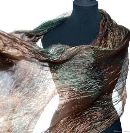 Шарф шёлковый коричневый с зелёным женский шелковый шарф ручной работы на заказ