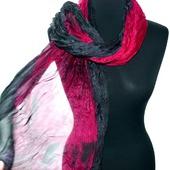 Шарф красно серый с бордовым и черным  шёлковый шарф