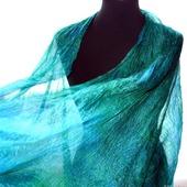Шарф синий с зеленым шарф палантин шёлковый подарок женщине