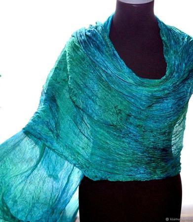 Шарф синий с зеленым шарф палантин шёлковый подарок женщине ручной работы на заказ