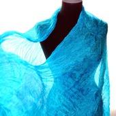 Бирюзово  голубой широкий длинный женский шёлковый шарф