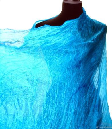 Бирюзово  голубой широкий длинный женский шёлковый шарф ручной работы на заказ
