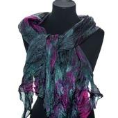 Шарф серо малиново изумрудный широкий длинный женский шёлковый шарф