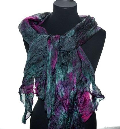 Шарф серо малиново изумрудный широкий длинный женский шёлковый шарф ручной работы на заказ