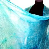 Шарф мятно голубой шелковый шарф ручная окраска натуральный шёлк