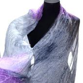 Лавандово сиренево серый шелковый шарф ручная окраска натуральный шёлк