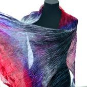 Шарф малиново серый с фиолетовым широкий длинный женский шёлковый шарф