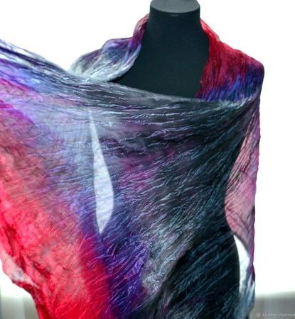 Шарф малиново серый с фиолетовым широкий длинный женский шёлковый шарф ручной работы на заказ