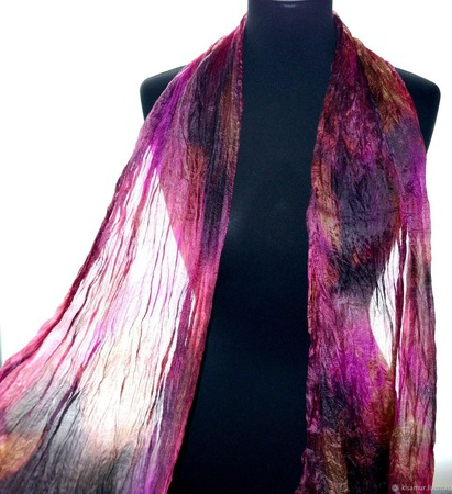 Шарф шелковый яркий разноцветный ручной работы на заказ