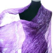 Шарф шелковый аметистово сиреневый  ручная окраска натуральный шёлк