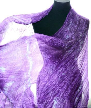 Шарф шелковый аметистово сиреневый  ручная окраска натуральный шёлк ручной работы на заказ