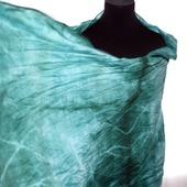 Палантин изумрудно зелёный хлопок и шёлк акварельные цвета