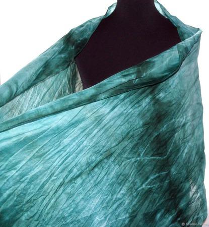 Палантин изумрудно зелёный хлопок и шёлк акварельные цвета ручной работы на заказ