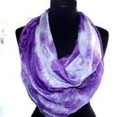 Платок сиренево фиолетовый тонкий натуральный шёлк