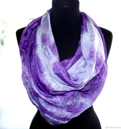 Платок сиренево фиолетовый тонкий натуральный шёлк ручной работы на заказ