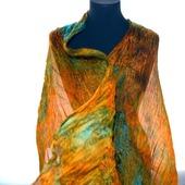 Шелковый шарф оранжево бирюзово изумрудный с рыжим натуральный шёлк