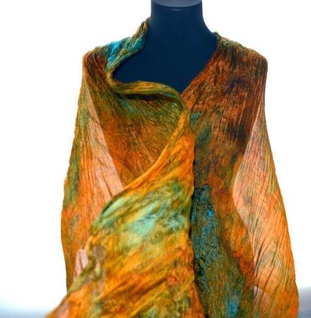 Шелковый шарф оранжево бирюзово изумрудный с рыжим натуральный шёлк ручной работы на заказ