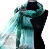 Палантин зелёно коричнево голубой хлопок и шёлк акварельные цвета