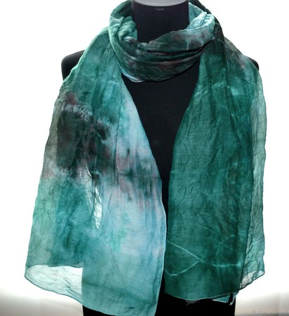 Палантин зелёно коричнево голубой хлопок и шёлк акварельные цвета ручной работы на заказ
