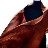 Шарф красно коричневый  жакард рептилия женский шарф