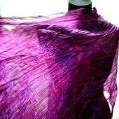 Шарф бордовый винный с фуксией натуральный шелк роспись