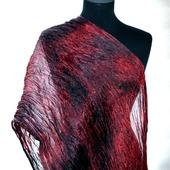 Шарф марсала красно коричневый натуральный шелк роспись