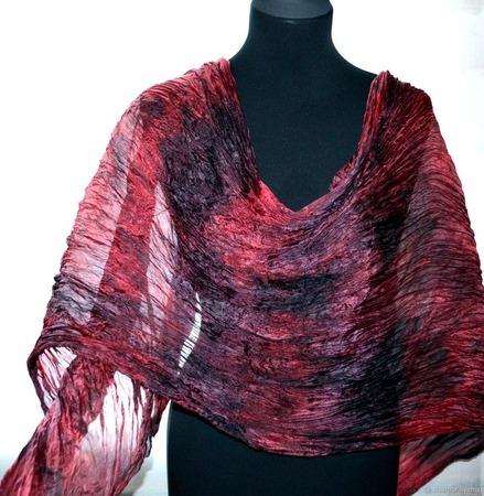 Шарф марсала красно коричневый натуральный шелк роспись ручной работы на заказ