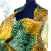 Шелковый шарф желто зелёный с коричневым