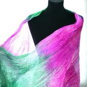 Шёлковый изумрудный и розовая фуксия, женский шёлковый шарф