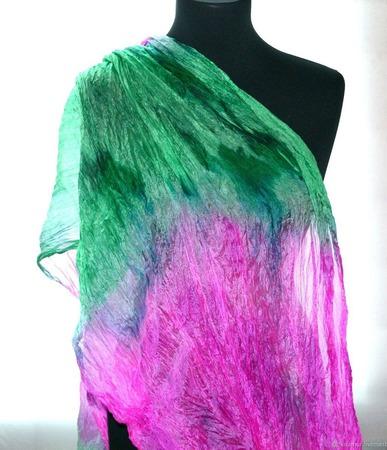 Шёлковый изумрудный и розовая фуксия, женский шёлковый шарф ручной работы на заказ
