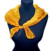 Солнечный платок жёлто рыжий тонкий натуральный шёлк эко крашение