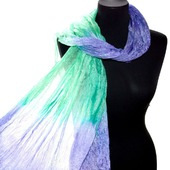 Мятно лавандово сиреневый шелковый шарф натуральный шёлк