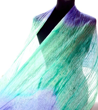 Мятно лавандово сиреневый шелковый шарф натуральный шёлк ручной работы на заказ