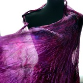 Бордовый с фиолетовым большой шарф палантин натуральный шелк