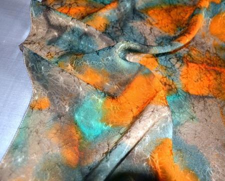 Платок шелковый жаккард коричневый с оранжевым и изумрудным подарок же ручной работы на заказ