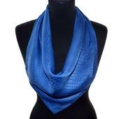 Синий платок шелковый шелк жаккард сине серый крокодил подарок женщине
