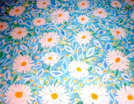 Шелковый платок батик Ромашковый на натуральном шелке шиф ручной работы на заказ