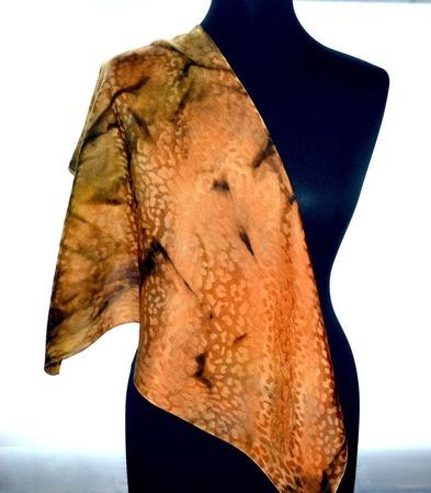 Платок шелковый леопард жаккард желто коричневый золотисто медный ручной работы на заказ