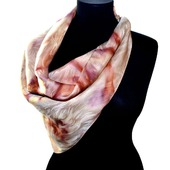 Платок шелковый жаккард персиковый с розовым бежевым  коричневым и сир